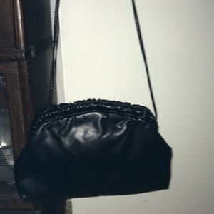 Vintage black leather holiday fair bag purse